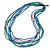 Long Multistrand Teal, Grey, Blue Glass/ Wood Bead Necklace - 100cm L