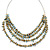 Multistrand Pale Blue Shell Nugget and Gold Tone Flower Bead Wired Necklace In Silver Tone - 60cm L/ 5cm Ext - view 5