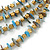 Multistrand Pale Blue Shell Nugget and Gold Tone Flower Bead Wired Necklace In Silver Tone - 60cm L/ 5cm Ext - view 3