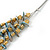 Multistrand Pale Blue Shell Nugget and Gold Tone Flower Bead Wired Necklace In Silver Tone - 60cm L/ 5cm Ext - view 6