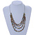 Multistrand Pale Blue Shell Nugget and Gold Tone Flower Bead Wired Necklace In Silver Tone - 60cm L/ 5cm Ext - view 2