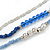 3 Strand Blue Glass, Acrylic and Silver Tone Metal Bead Long Necklace - 100cm L - view 3