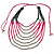 Long Multistrand, Layered Deep Pink Wood/ Black Glass Bead Necklace with Pink Suede Cord - Adjustable - 110cm/ 140cm L - view 7