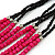 Long Multistrand, Layered Deep Pink Wood/ Black Glass Bead Necklace with Pink Suede Cord - Adjustable - 110cm/ 140cm L - view 4