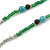 Extra Long Green/ Blue/ Black Glass, Silver Acrylic Bead Necklace - 160cm L - view 3