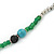 Extra Long Green/ Blue/ Black Glass, Silver Acrylic Bead Necklace - 160cm L - view 5