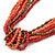 Long Multistrand Pink Salmon, Coral and Bronze Glass/ Acrylic Bead Necklace - 90cm L - view 3
