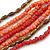 Long Multistrand Pink Salmon, Coral and Bronze Glass/ Acrylic Bead Necklace - 90cm L - view 4