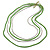 4 Strand Multilayered Pea Green Ceramic and Silver Tone Acrylic Bead Necklace - 110cm L