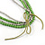 4 Strand Multilayered Pea Green Ceramic and Silver Tone Acrylic Bead Necklace - 110cm L - view 4