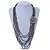 Metallic Silver Bead with Grey Leather Flower Black Sued Cord Multistrand Necklace - 90cm L - view 2
