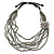 Metallic Silver Bead with Grey Leather Flower Black Sued Cord Multistrand Necklace - 90cm L - view 6
