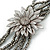 Metallic Silver Bead with Grey Leather Flower Black Sued Cord Multistrand Necklace - 90cm L - view 3