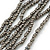 Metallic Silver Bead with Grey Leather Flower Black Sued Cord Multistrand Necklace - 90cm L - view 4