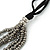 Metallic Silver Bead with Grey Leather Flower Black Sued Cord Multistrand Necklace - 90cm L - view 5