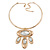 Tribal Gold Plated Bar Necklace with Oval Shape Medallion Pendant - 46cm L/ 8cm Ext - view 7