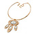 Tribal Gold Plated Bar Necklace with Oval Shape Medallion Pendant - 46cm L/ 8cm Ext