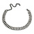 3 Row Clear Crystal Choker Necklace In Black Tone Metal - 26cm L/ 11cm Ext