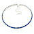 Thin Sapphire Blue Top Grade Austrian Crystal Choker Necklace In Rhodium Plated Metal - 36cm L/ 9cm Ext - view 8