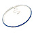 Thin Sapphire Blue Top Grade Austrian Crystal Choker Necklace In Rhodium Plated Metal - 36cm L/ 9cm Ext - view 6