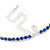 Thin Sapphire Blue Top Grade Austrian Crystal Choker Necklace In Rhodium Plated Metal - 36cm L/ 9cm Ext - view 5