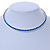 Thin Sapphire Blue Top Grade Austrian Crystal Choker Necklace In Rhodium Plated Metal - 36cm L/ 9cm Ext - view 2