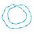 Light Blue Glass Bead Long Singe Strand Necklace - 114cm L