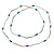 Extra Long Glass, Acrylic Bead Necklace (Teal, Transparent, Silver) - 160cm L - view 6