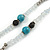 Extra Long Glass, Acrylic Bead Necklace (Teal, Transparent, Silver) - 160cm L - view 4