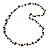 Black Ceramic Bead, Grey Glass Nugget Orange Cotton Cord Long Necklace - 90cm L - view 4