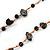 Black Ceramic Bead, Grey Glass Nugget Orange Cotton Cord Long Necklace - 90cm L - view 6