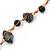 Black Ceramic Bead, Grey Glass Nugget Orange Cotton Cord Long Necklace - 90cm L - view 3
