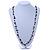 Black Ceramic Bead, Grey Glass Nugget Orange Cotton Cord Long Necklace - 90cm L - view 2