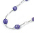Long Purple Stone and Silver Tone Acrylic Bead Necklace - 118cm L - view 7