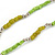 Long Lime Green, Light Olive Stone and Mirrored Silver Acrylic Bead Necklace - 150cm L - view 3