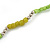 Long Lime Green, Light Olive Stone and Mirrored Silver Acrylic Bead Necklace - 150cm L - view 4