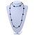 Long Black/ Hematite Glass Bead, Ceramic Star Necklace - 108cm L - view 2