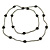 Long Black/ Hematite Glass Bead, Ceramic Star Necklace - 108cm L - view 5