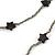 Long Black/ Hematite Glass Bead, Ceramic Star Necklace - 108cm L - view 6