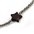 Long Black/ Hematite Glass Bead, Ceramic Star Necklace - 108cm L - view 3
