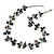 Slate Black Shell Nugget & Black Ceramic Bead Necklace In Silver Tone - 46cm L/ 3cm Ext