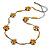 Long Yellow Neutral Wooden Flower Black Cotton Cord Necklace - 114cm L
