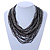 Black, Hematite Glass Bead Multistrand, Layered Necklace With Wooden Square Closure - 64cm L - view 2