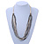 White/ Transparent/ Silver/ Taupe Glass Bead Multi Strand with Ivory Suede Cord Necklace - Adjustable - 64cm Min/ 88cm Max - view 2
