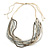 White/ Transparent/ Silver/ Taupe Glass Bead Multi Strand with Ivory Suede Cord Necklace - Adjustable - 64cm Min/ 88cm Max - view 6