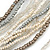 White/ Transparent/ Silver/ Taupe Glass Bead Multi Strand with Ivory Suede Cord Necklace - Adjustable - 64cm Min/ 88cm Max - view 3