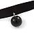 Black Silk Ribbon Choker Necklace with Black Ceramic Bead 15mm Pendant - 30cm L/ 5cm Ext - view 3