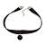 Black Silk Ribbon Choker Necklace with Black Ceramic Bead 15mm Pendant - 30cm L/ 5cm Ext