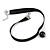 Black Silk Ribbon Choker Necklace with Black Ceramic Bead 15mm Pendant - 30cm L/ 5cm Ext - view 4