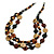 3 Strand Black/ Brown/ Neutral Round, Button Wooden Beads Necklace - 70cm - view 1